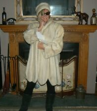 Beautiful Scalloped Ivory Mink With Matching Headband Fur Swing Stroller Coat XL