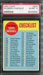 1963 Topps #509 7th Series Checklist PSA 6 EX-MT