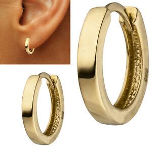 KLapp Creolen 585 echt Gold Ohrringe 14 Karat Gelbgold rund 12 mm klein neu