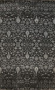 Vegetable Dye Wool/ Silk Versace Design Area Rug Hand-knotted BLACK/ SILVER 9x12