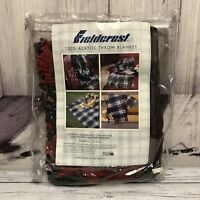 "Fieldcrest Throw Blanket Black Red Plaid Acrylic 50""x60"" Loom Woven Fringed Ends"