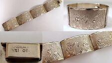"Antique Vtg Mexican 34g Sterling Silver Etched Donkey Man 1"" Wide Panel Bracelet"