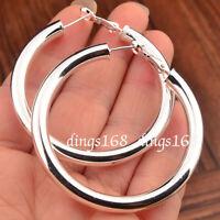 Women's 925 Sterling Silver Classic Hypo-allergenic Tubular Hoop Earrings E792