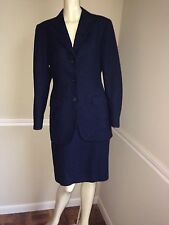 Navy 100% Wool Skirt Suit by Burberry London, Sz: 42, US 6, Italian Made, #15