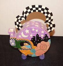 "1994 Judy Miller Handmade Ceramic Teapot ""Taxi Ride"" Artist Signed Art Pottery"