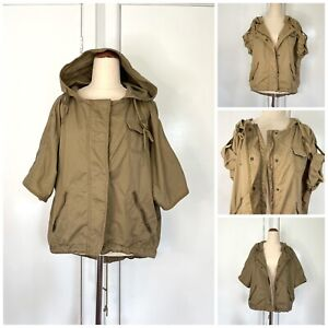 Country Road Khaki Crop Jacket Roll Up Sleeves Removable Hood Size XS