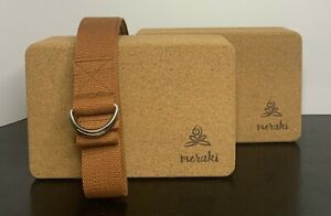Meraki Cork Block and Strap Set for Yoga, Stretching, Balance and Support