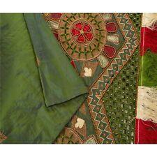 Sanskriti Vintage Green Heavy Dupatta Pure Silk Hand Beaded Zari Ethnic Stole