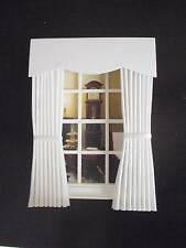 MINIATURE DOLLS HOUSE CURTAINS DRAPES PLAIN WHITE 12CM WIDE 4 3/4 IN NEW