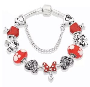 Disney Charms Mickey And Minnie Mouse 20cm Bracelet Plate 925S Silver Gift Set