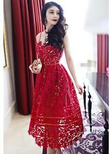 Womens Sexy Red Prom Ball Cocktail Evening Party Lace Gown Long Bridesmaid Dress