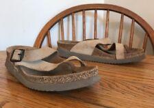 MEPHISTO Women's Helen Slide Sandal Thong Size 40/9 Leather Brown OG Free Ship