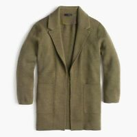 NWT $138 J.CREW Size XL Sophie Open-front Merino Wool Sweater-blazer OLIVE GREEN