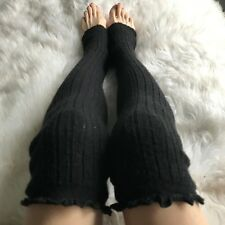 Over the Knee Leg Warmers Black Sweater Knit Legwarmers Knee High Socks Thigh OS