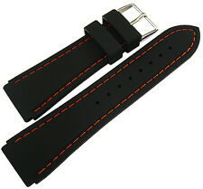 22mm Hadley-Roma MS3345 Black Silicone Rubber Orange Stitch Watch Band Strap