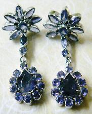 Lavender Amethyst long dangle drop charm silver plate earrings