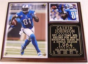 Calvin Johnson #81 1,964 Yards Detroit Lions NFL Record Photo Plaque