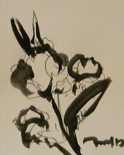 "JOSE TRUJILLO ART Minimalist ACRYLIC on Paper PAINTING 11x14"" FLORAL"