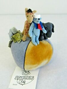 ARTIST Made Miniature Bear Pin Cushion with Giraffe and Elephant Blue Roses Felt