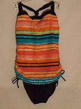 NWT Tropical Escape designer one piece swimsuit fauxkini size 8 striped
