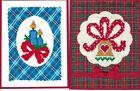 Handmade CROSS STITCH  CHRISTMAS CARDS #CX-D--Lot of 2