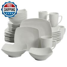 40-Piece Square Dinnerware Set Dinner Plates Bowls Mugs Stoneware Dining White
