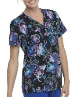 NWT Scrubstar Luminescent Flower Mock Wrap Printed Scrub Uniform Top Nurse Vet