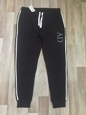New Men's AD King Jogger Cuffed Fleece Warm Gym Branded Black White Size W38 L30