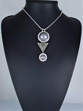 Stunning Silver Box Chain with Grey Faux Pearl  Smoky Crystal Diamante Necklace