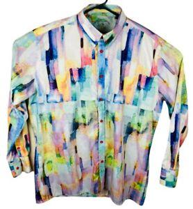 Steven Land Mens Brooklyn 1991 Long Sleeve Button Down Multicolor Shirt  XL