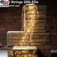 Waterfall LED Window Curtain Lights String Fairy Light Wedding Xmas Home Garden