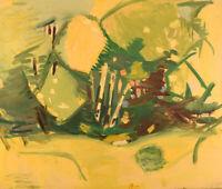 Hans Øllgaard (b. 1911, d. 1969). Abstract landscape with trees. Oil on canvas.