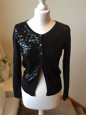 MONSOON Black Sequin Long Sleeve Cardigan Size Small (8/10) Button Party