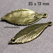 062 - Lot de 3 - BRELOQUE, CHARM, CONNECTEUR, FEUILLE, Bronze, 35 x 13 mm