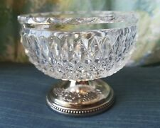 "Vintage GRENADIER ENGLAND silverplated crystal glass posy bowl 3 x 3 3/4"" NO TOP"