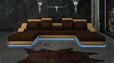 Eck Leder Textil Stoff Couch Sofa Garnitur Wohnlandschaft Polster Ecke Neu BER