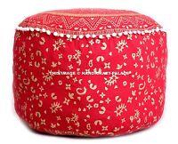 Indien Ombre Mandala Imprimé Rouge Pouf Ottomane Housse Pied Tabouret Pom À De
