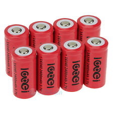 8 x 2400Mah 3.7V 16340 CR123A 123A CR123 Li-ion Rechargeable Battery Cell USA