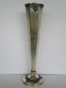 Antique Sheffield Paul Revere Silver Co., Boston, Trumpet Vase w/ Grapes & Ivy
