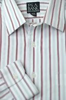Jos A Bank Men's Executive White Brown & Gray Stripe Cotton Dress Shirt 16 x 32
