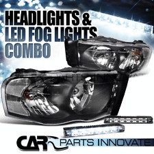 Dodge 02-05 Ram 1500 03-05 Ram 2500/3500 Euro Black Headlights+6-LED Fog Lamps