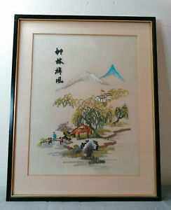 VINTAGE ORIENTAL EMBROIDERY PICTURE ON SILK MOUNTAIN HUTS LANDSCAPE FRAMED