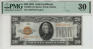 1928 $20 GOLD CERTIFICATE NOTE FR.2402 AA BLOCK PMG VERY FINE VF 30 (677A)