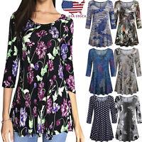 Fashion Womens Floral Print Shirts 3/4 Sleeves O-Neck Tunic Blouse Tops T Shirt