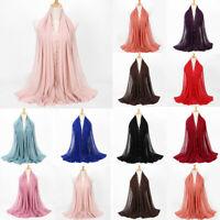 Women Bubble Chiffon Pearl Scarf Islamic Muslim Wrap Hijab Ladies Shawl Scarves
