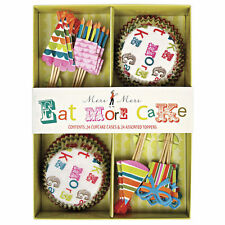 Cupcake Kit Cases Toppers 'Eat more Cake' x24 Meri Meri Boxed