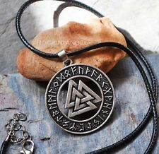 Antique Silver Plt Rune Valknut Pendant Necklace, Ladies Mens Gift Viking Norse