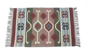 Handwoven Floor Kilim Rugs Jute Area Rug Hand loomed Rustic rugs Indien 2x3-12