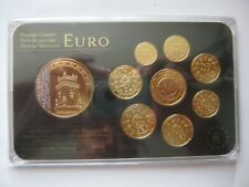 Portugal 2004-2009 Prestige Gold-plated Coin Set: 1 Cent - 2€ Euro + Medal Cased