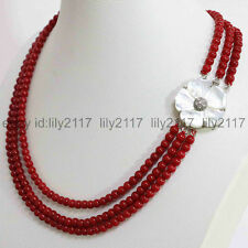 Fine 3 rows red coral 7-8mm round beads+White mother shell flower clasp necklace